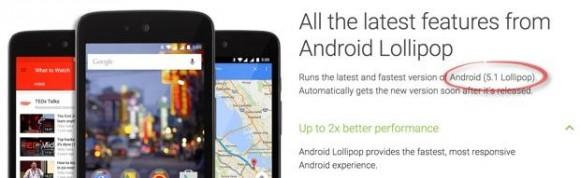 Android One kommt ab Werk mit Lollipop, der Versionshinweis wurde aber mittlerweile entfernt (Screenshot: ZDNet.com).