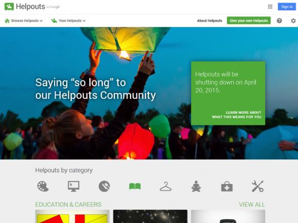 Google Helpouts wird zum 20. April 2015 eingestellt (Screenshot: ZDNet.de).