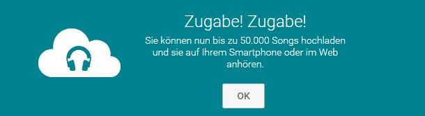 Google hat das Songlimit für Play Music von 20.000 auf 50.000 erhöht (Screenshot: ZDNet.de).