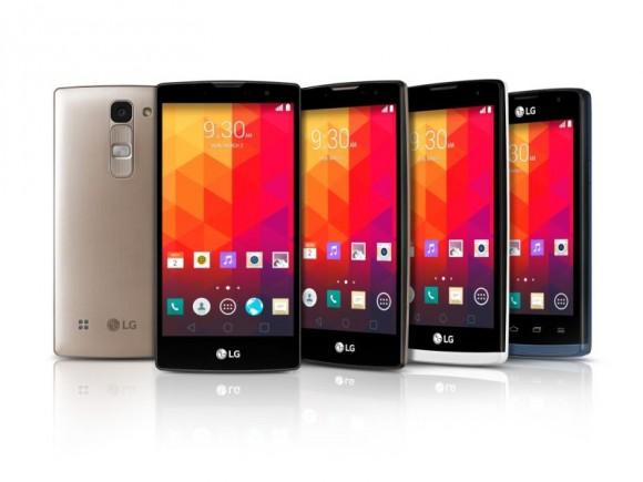 Die neuen LG-Smartphones Magna, Spirit, Leon und Joy übernehmen das Design des Flaggschiffs G3 (Bild: LG).
