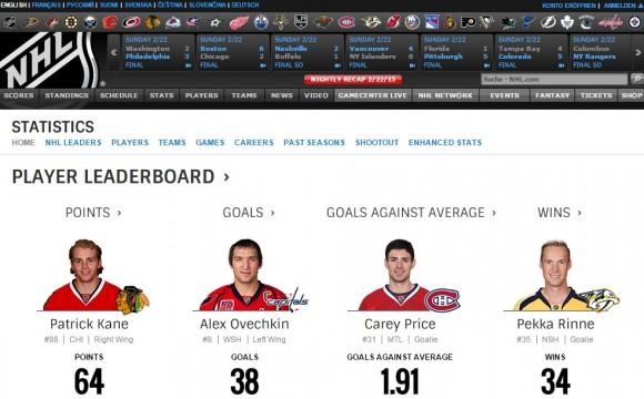 NHL-Site mit SAP-HANA-Daten (Screenshot: ZDNet.de)