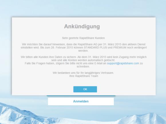"""Rapidshare stellt Ende März seinen """"aktiven Dienst"""" ein (Screenshot: ZDNet.de)."""