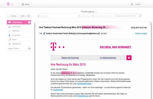 Die neuen Online-Rechnungen der Telekom zeigen künftig auch einen Teil der Kundenadresse an (Bild: Telekom).
