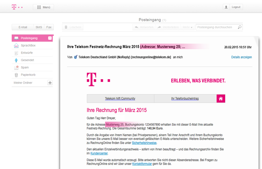 deutsche telekom macht online rechnungen. Black Bedroom Furniture Sets. Home Design Ideas