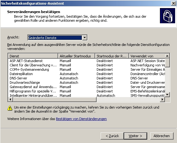 Der Sicherheitskonfigurations-Assistent in Windows Server 2003 kann Windows-Server vor Angreifern schützen (Screenshot: Thomas Joos).