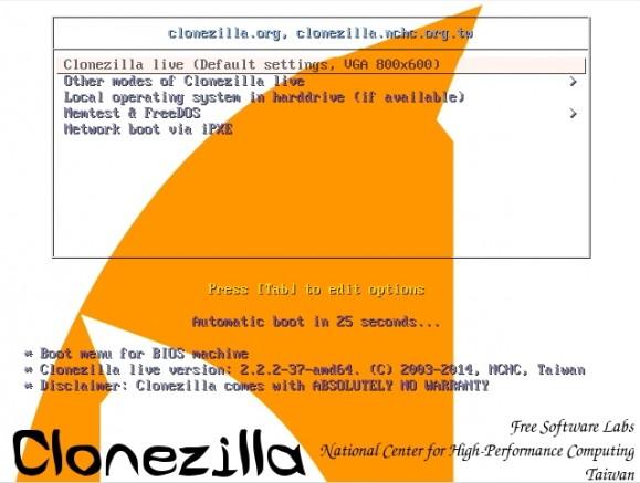 Mit Clonezilla sollte ein betagter Server mit Windows Server 2003 zunächst auf einer externen Festplatte gesichert werden (Screenshot: Thomas Joos).