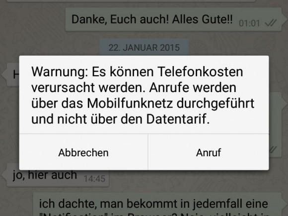 Beim ersten Aufruf der Telefoniefunktion unter Android zeigt WhatsApp einen Warnhinweis an (Screenshot: ZDNet.de).