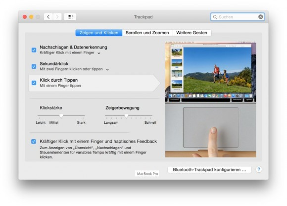 MacBook Pro Retina 13 Zoll: Touch-Gesten (Screenshot: ZDNet.de)