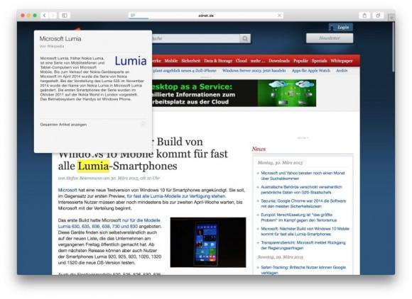 Mit dem Force-Touch-Trackpad lässt sich ein Wikipedia-Eintrag aufrufen (Screenshot: ZDNet.de)