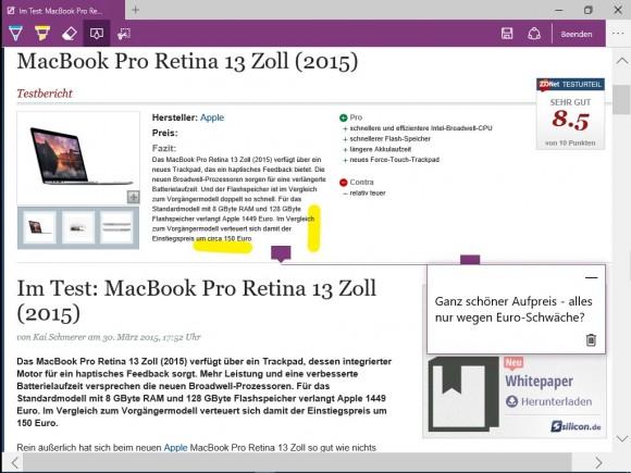 Windows 10 Build 10049: Spartan-Browser (Screenshot: ZDNet.de)