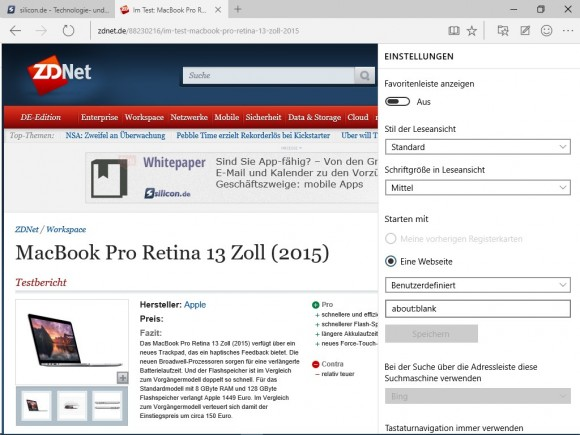 Windows 10 Build 10049: Spartan-Browser (Screenshot: ZDNet.de)