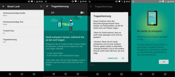 Android Smart Lock: Trageerkennung (Screenshot: ZDNet.de)