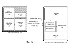 Brennstoffzelle (links) und von ihr versorgtes Mobilgerät (Bild: Apple, via USPTO)