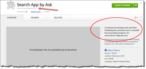 Ask Search App im Chrome Web Store (Screenshot: ZDNet.com)
