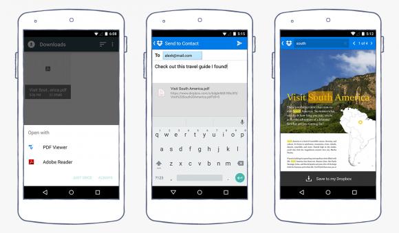 Die neue Dropbox-App für Android integriert einen PDF-Viewer und erlaubt die Suche innerhalb von Dokumenten (Bild: Dropbox).