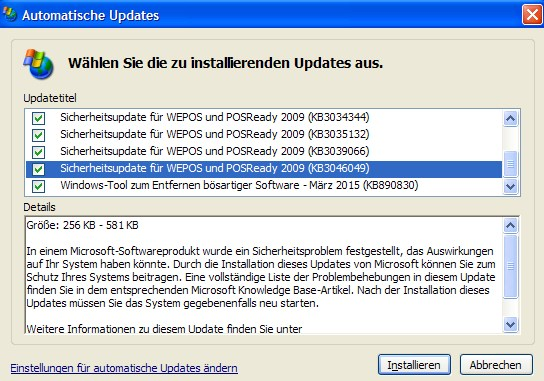 Windows XP: Update KB2046049 schließt Freak-Lücke (Screenshot: ZDNet.de)
