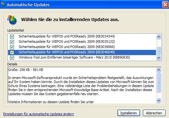 Windows XP: Update KB2046049 schließt Freak-Lücke (Screenshot: ZDNet.de)