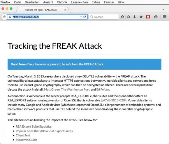 freakattack.com: Firefox ist nicht anfällig (Screenshot: ZDNet.de)