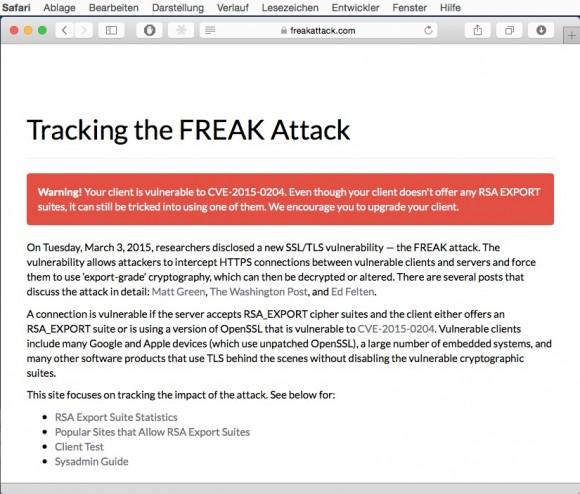 freakattack.com: Safari ist anfällig (Screenshot: ZDNet.de)