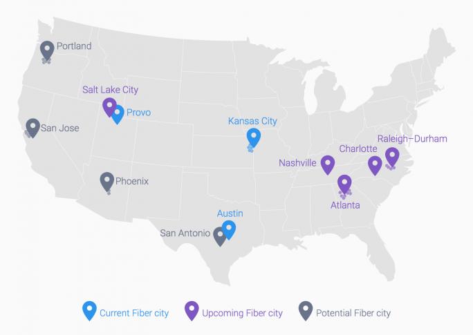Tatsächliche und geplante Standorte von Google Fiber (Bild: Google)