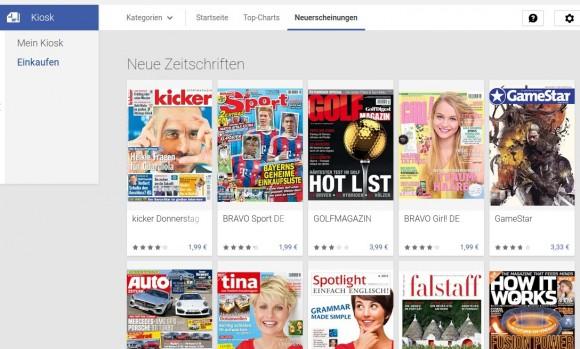 Auswahl neuer Zeitschriften im Google Play Kiosk (Screenshot: ZDNet.de)