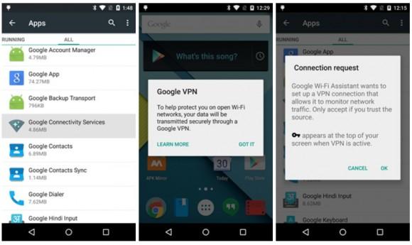 Die Google Connectivity Services bieten einen verschlüsselten VPN-Dienst für die sichere Nutzung offener WLANs an (Screenshot: Android Police).