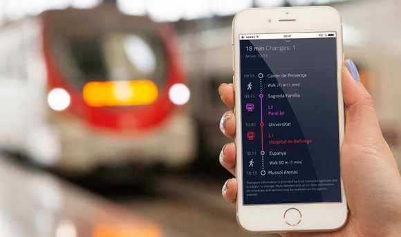 Nokia Here für iOS erlaubt auch eine sprachgeführte Offline-Navigation für Fußgänger, die in mehr als 950 Städten auch öffentliche Verkehrsmittel einbezieht (Bild: Nokia).