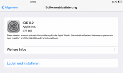 iOS 8.2 unterstützt Apples intelligente Armbanduhr Apple Watch (Screenshot: ZDNet).