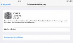 iOS 8.2 unterstützt Apples intelligente Armbanduhr Apple Watch (Screenshot: ZDNet).