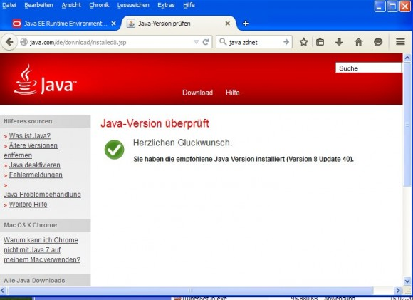 Java 8 unter XP (Screenshot: ZDNet.de)