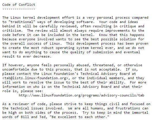 "Der ""Code of Conflict"" legt Verhaltensregeln für Linux-Kernel-Entwickler fest (Screenshot: ZDNet.de)."