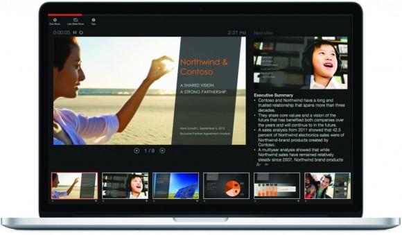Microsoft hat auch die Präsentationsansicht von PowerPoint 2016 für Mac überarbeitet (Bild: Microsoft).
