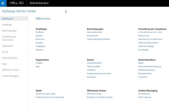 Office 365 lässt sich auch mit den von lokalen Servern bekannten Verwaltungswerkzeugen konfigurieren und administrieren (Screenshot: Thomas Joos).