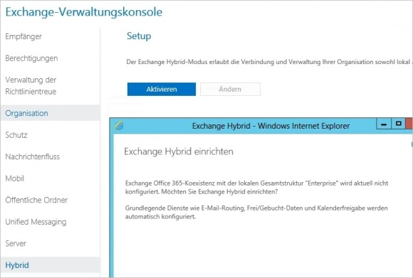 Lokale Exchange-Installationen lassen sich über Assistenten an Office 365 anbinden (Screenshot: Thomas Joos).
