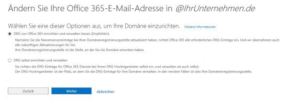 In Office 365 können Unternehmen auch eigene E-Mail-Domänen anbinden. Diese werden auch zur Anbindung an SharePoint genutzt (Screenshot: Thomas Joos).