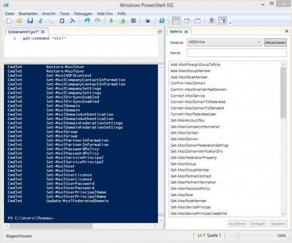 Office 365 lässt sich auch über die PowerShell verwalten (Screenshot: Thomas Joos).