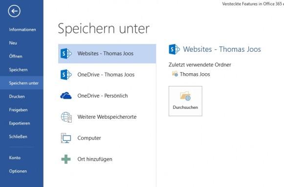 Der Cloudspeicher in Office 365 lässt sich direkt an Office anbinden (Screenshot: Thomas Joos).