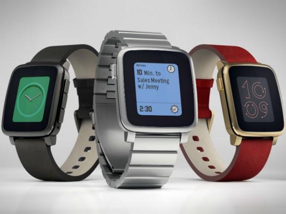 Die Pebble Time Steel bietet eine Akkulaufzeit von bis zu 10 Stunden (Bild: Pebble).