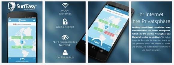 SurfEasy unter Android (Sreenshot: ZDNet.de)