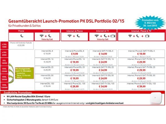 Übersicht über Vodafones neu gestaltetes DSL-Portfolio für Privatkunden (Screenshot: Vodafone)