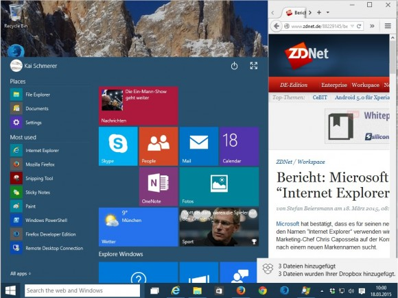 Windows 10 (Screenshot: ZDNet.de)