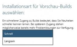 Windows-10-Updates: Tester können zwischen Schnell und Langsam wählen (Screenshot: ZDNet.de).