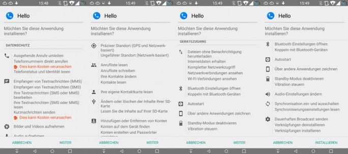 Facebook-Dialer-Hello: Berechtigungen (Screenshot: ZDNet.de)