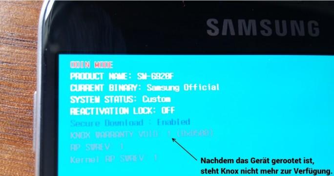 Galaxy S6: Die Aktivierung von Root-Rechten zerstört Knox (Bild: ZDNet.de)