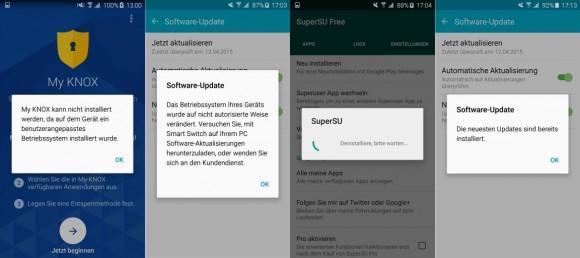 Achtung: Die Aktivierung von Admin-Rechten zerstört Knox (Screenshot: ZDNet.de)