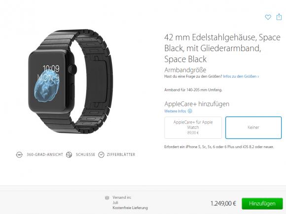 Einige Modelle der Apple Watch sind derzeit erst wieder im Juli verfügbar (Screenshot: ZDNet).