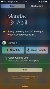 Chrome für iOS bringt jetzt ein Widget für die Mitteilungszentrale mit (Screenshot: Google).