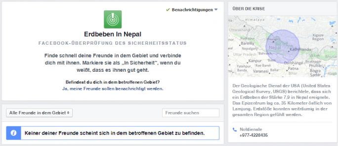 Facebook hat sein Tool Safety Check für die von dem Erdbeben betroffene Region in Nepal freigeschaltet (Screenshot: ZDNet).