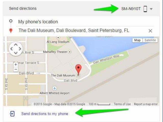Der Browser verschickt die Richtungsanweisungen - das ausgewählte Smartphone öffnet automatisch die Google-Maps-App mit der Route (Screenshot: Nicole Cozma / CNET).