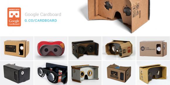 VR-Smartphone-Aufsatz Cardboard und Nachahmer (Bild: Google)